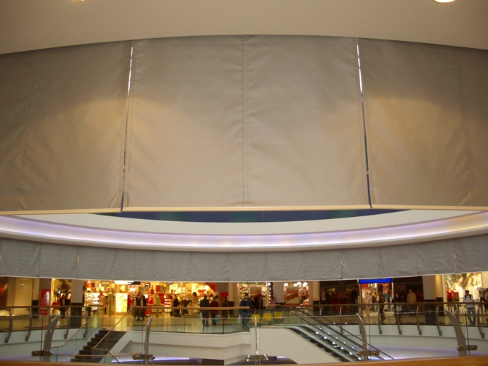 Smoke curtains protecting upper elevation of shopping centre